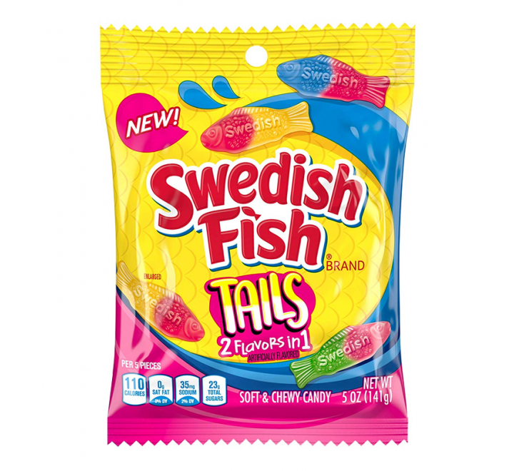 Swedish Fish Tails, 2 flavors in 1 (141g)